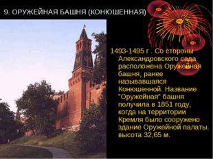 9. ОРУЖЕЙНАЯ БАШНЯ (КОНЮШЕННАЯ) 1493-1495 г . Со стороны Александровского са