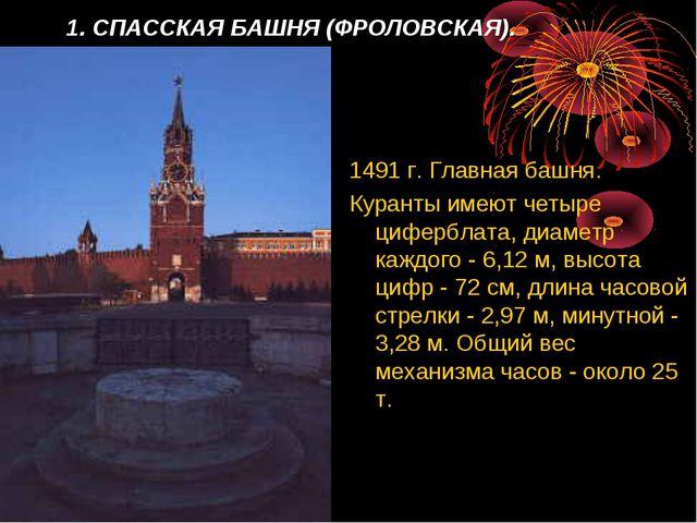1. СПАССКАЯ БАШНЯ (ФРОЛОВСКАЯ). 1491 г. Главная башня. Куранты имеют четыре ц...