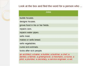 Look at the box and find the word for a person who ... Jobs builds houses. de