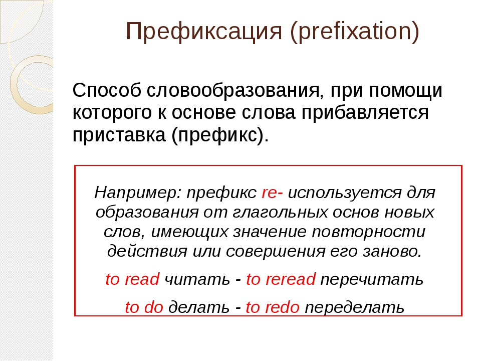 Префиксация (prefixation) Способ словообразования, при помощи которого к осно...