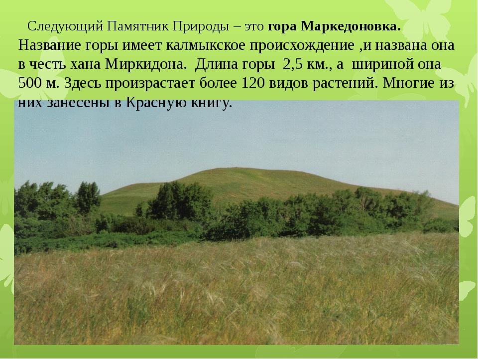 Следующий Памятник Природы – это гора Маркедоновка. Название горы имеет калмы...