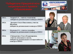 Победители Приоритетного национального проекта «Образование» 2011г.Лазарев Б