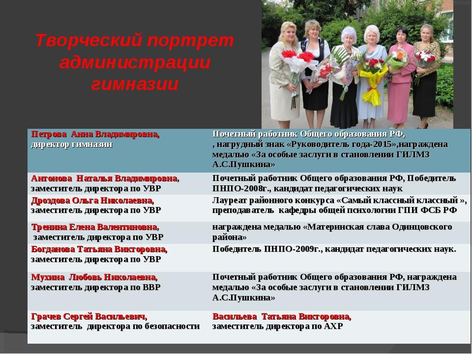 Творческий портрет администрации гимназии Петрова Анна Владимировна, директор...