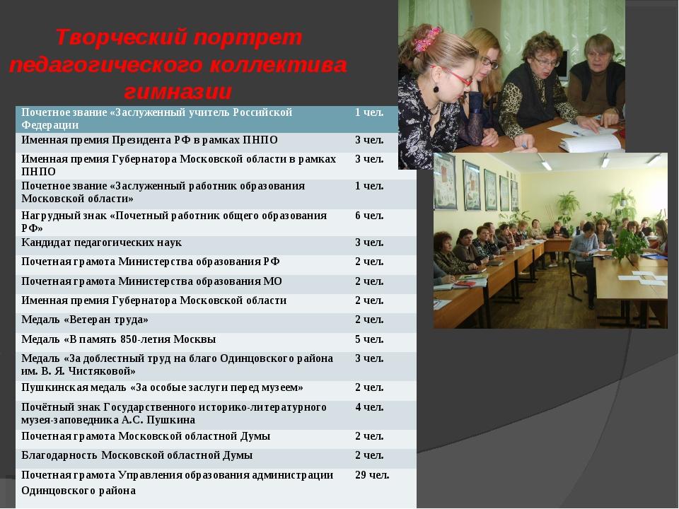 Творческий портрет педагогического коллектива гимназии Почетное звание «Заслу...