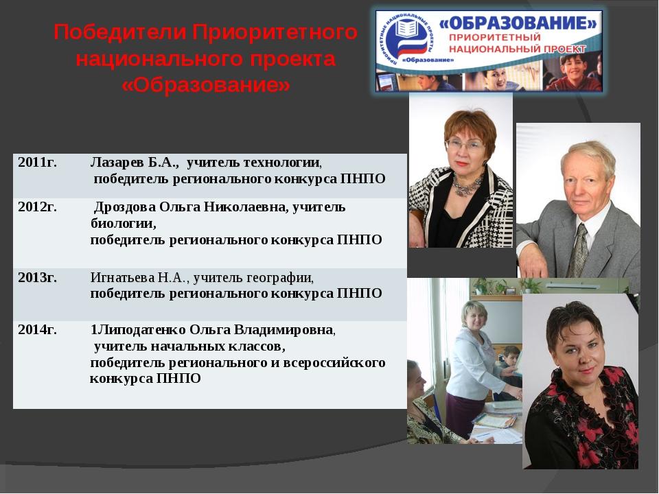 Победители Приоритетного национального проекта «Образование» 2011г.Лазарев Б...