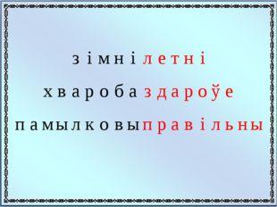 з і м н і л е т н і x в а р о б а з д а р о ў е п а м ы л к о в ы п р а в