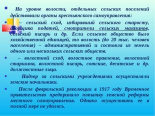 На уровне волости, отдельных сельских поселений действовали органы крестьянс