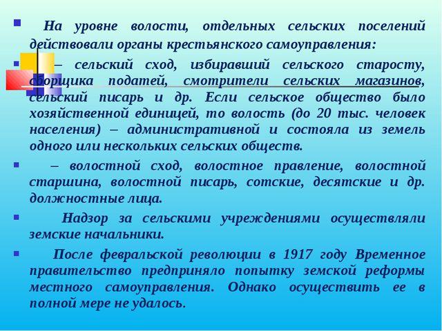 На уровне волости, отдельных сельских поселений действовали органы крестьянс...