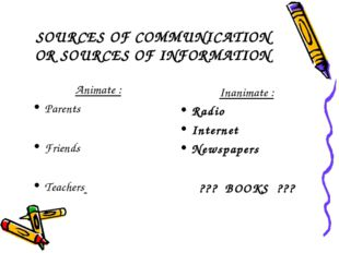 SOURCES OF COMMUNICATION OR SOURCES OF INFORMATION Animate : Parents Friends