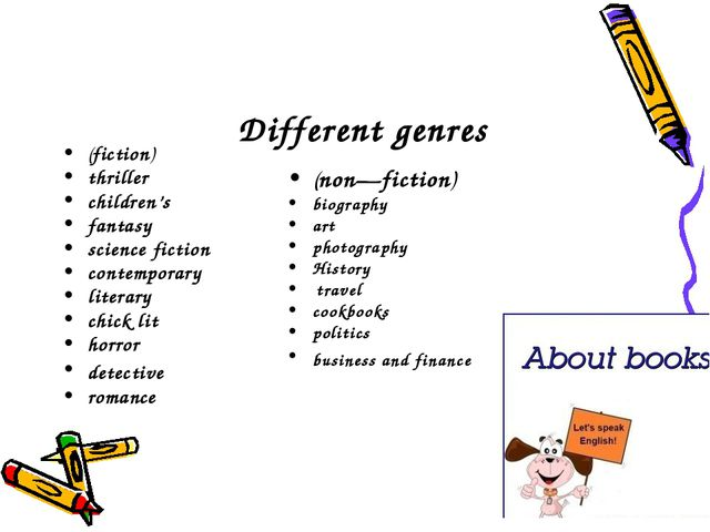 Different genres (fiction) thriller children's fantasy science fiction conte...