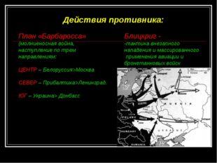 Действия противника: План «Барбаросса» (молниеносная война, наступление по тр