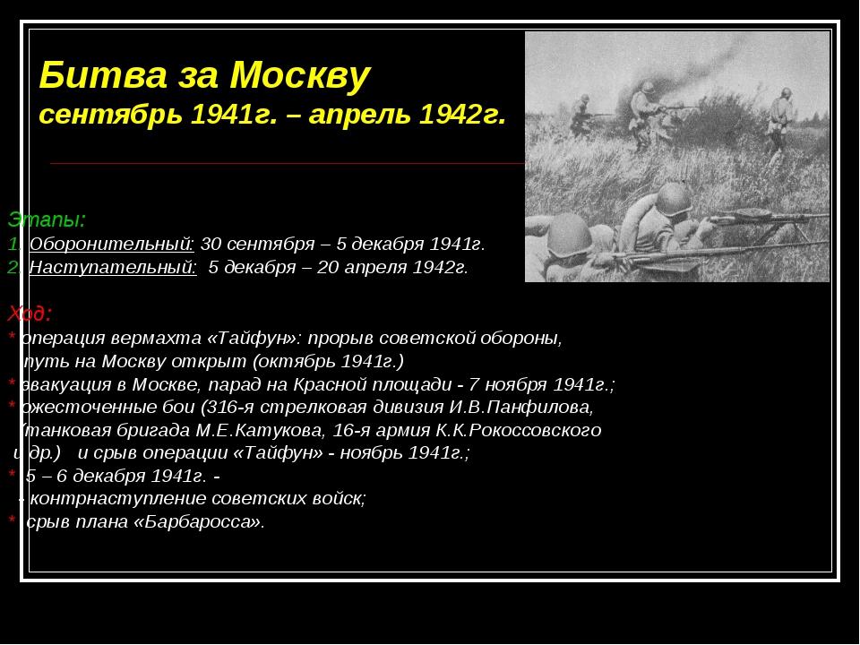Битва за Москву сентябрь 1941г. – апрель 1942г. Этапы: 1. Оборонительный: 30...