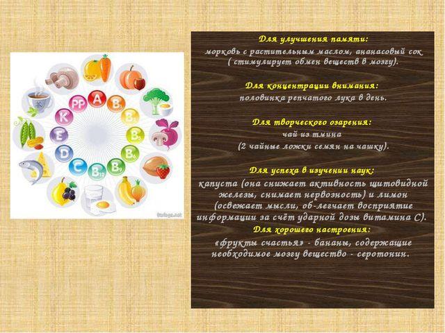 Для улучшения памяти: морковь с растительным маслом, ананасовый сок ( стимули...