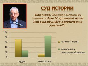 Сванидзе: Тема наших сегодняшних слушаний: «Иван IV: кровавый тиран или выдаю