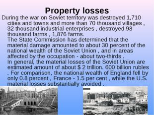 Property losses During the war on Soviet territory was destroyed 1,710 citie