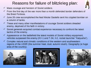 Reasons for failure of blitzkrieg plan: Mass courage and heroism of Soviet so