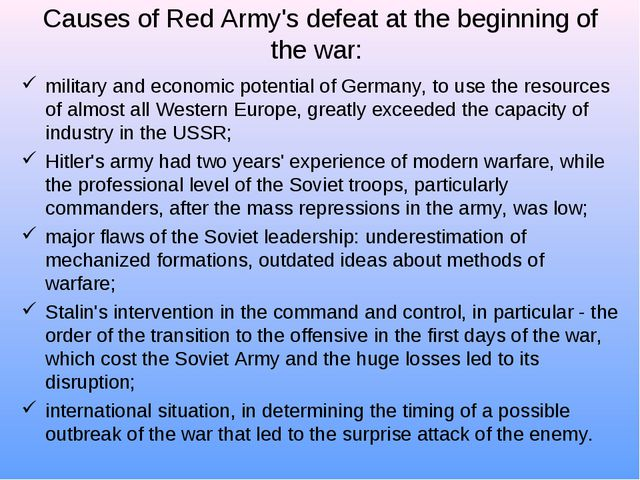 Causes of Red Army's defeat at the beginning of the war: military and economi...