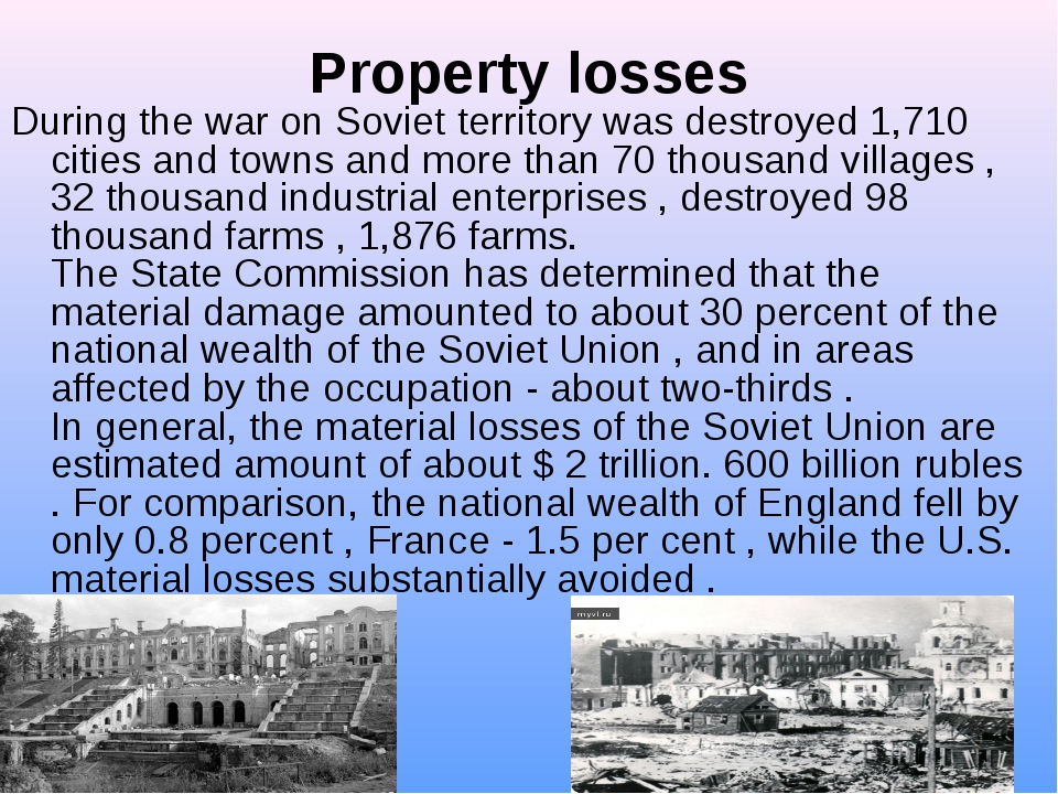 Property losses During the war on Soviet territory was destroyed 1,710 citie...