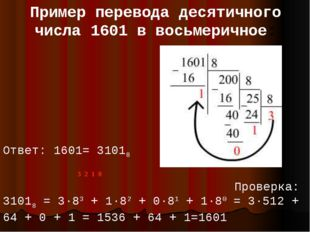 Пример перевода десятичного числа 1601 в восьмеричное: Ответ: 1601= 31018 3 2
