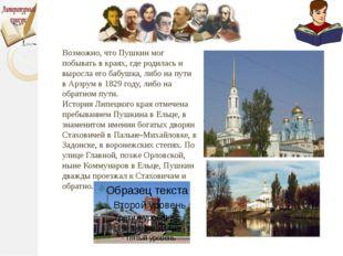 Возможно, что Пушкин мог побывать в краях, где родилась и выросла его бабушк