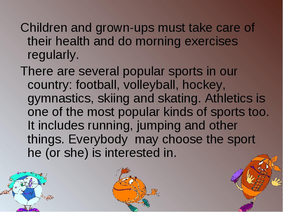 Children and grown-ups must take care of their health and do morning exercis...