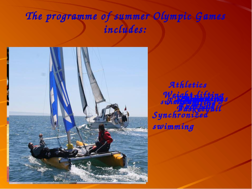 The programme of summer Olympic Games includes: swimming Synchronized swimmin...