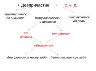 Деепричастие с. ч. р. грамматическая значение морфологические признаки синтак