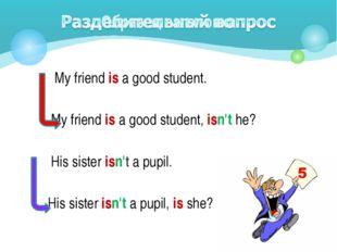 My friend is a good student. My friend is a good student, isn't he? His sist