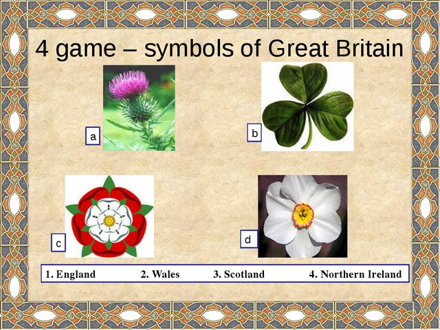 4 game – symbols of Great Britain 1. England 2. Wales 3. Scotland 4. Northern...