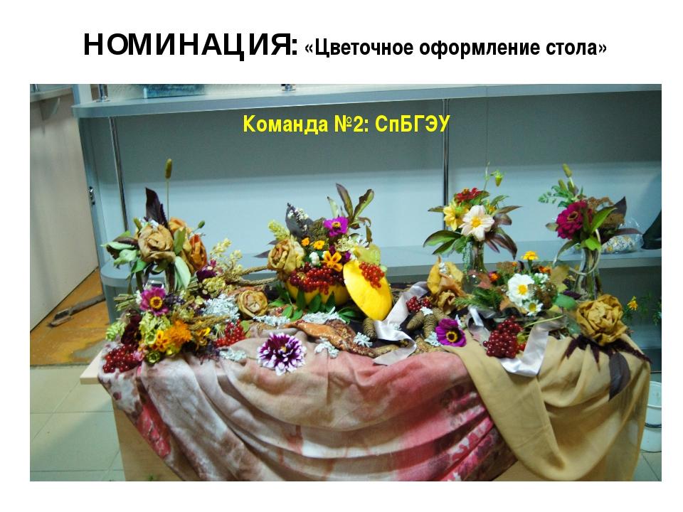 НОМИНАЦИЯ: «Цветочное оформление стола» Команда №2: СпБГЭУ