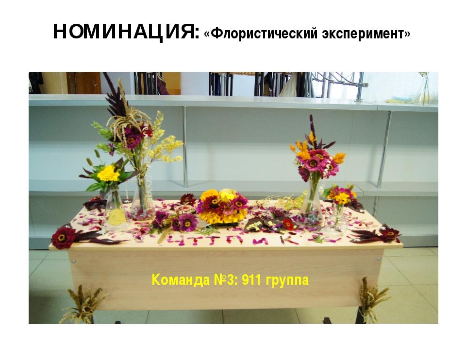 НОМИНАЦИЯ: «Флористический эксперимент» Команда №3: 911 группа