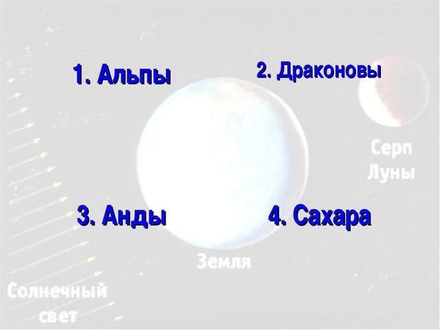 1. Альпы 2. Драконовы 3. Анды 4. Сахара