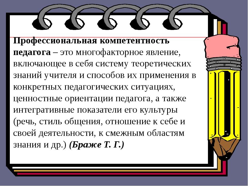 Профессиональная компетентность педагога – это многофакторное явление, включа...