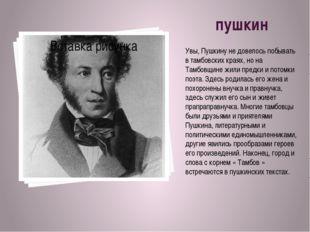пушкин Увы, Пушкину не довелось побывать в тамбовских краях, но на Тамбовщи