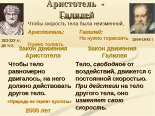 Аристотель - Галилей Закон движения Аристотеля Чтобы тело равномерно двигалос