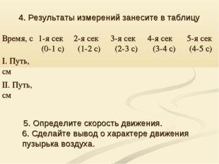 4. Результаты измерений занесите в таблицу 5. Определите скорость движения. 6