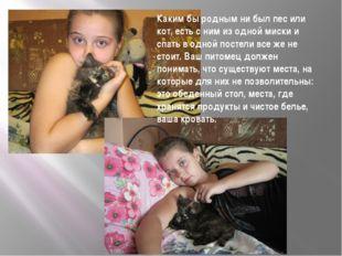 Каким бы родным ни был пес или кот, есть с ним из одной миски и спать в одной