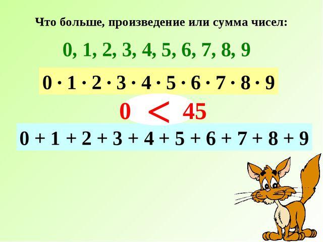 Что больше, произведение или сумма чисел: 0, 1, 2, 3, 4, 5, 6, 7, 8, 9 0 · 1...