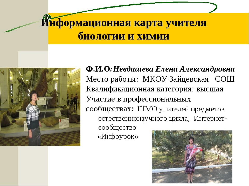Информационная карта учителя биологии и химии Ф.И.О:Невдашева Елена Александр...