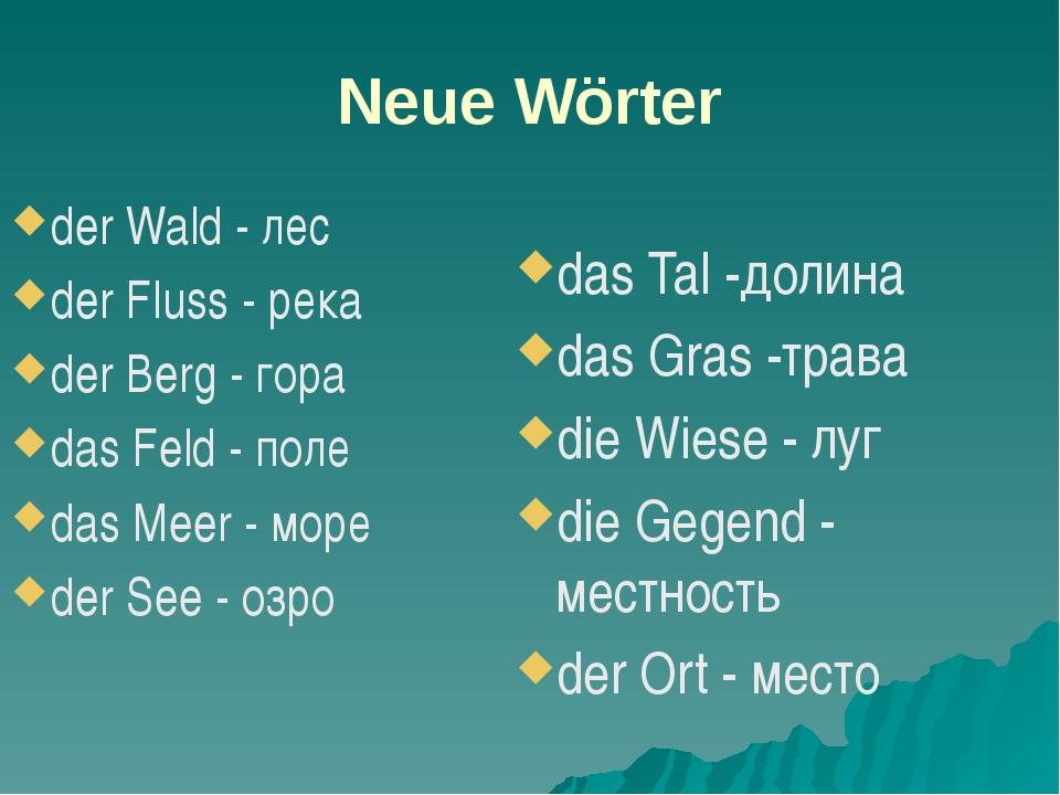 Neue Wörter der Wald - лес der Fluss - река der Berg - гора das Feld - поле d...
