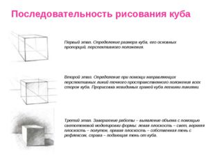 Последовательность рисования куба Первый этап. Определение размера куба, его