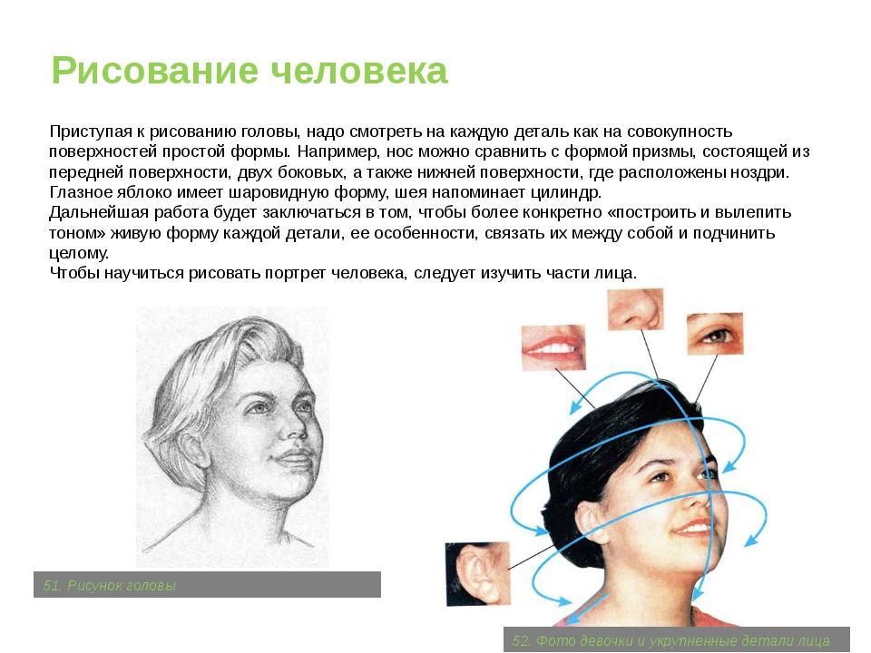 Рисование человека Приступая к рисованию головы, надо смотреть на каждую дета...
