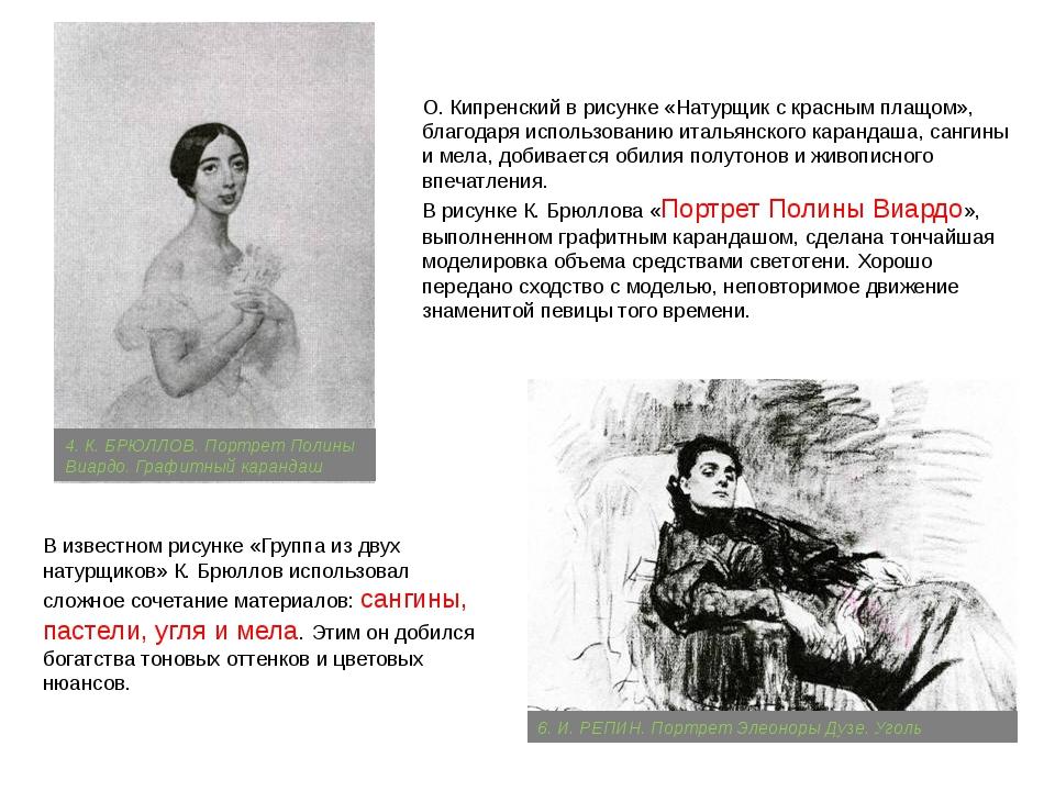 О. Кипренский в рисунке «Натурщик с красным плащом», благодаря использованию...