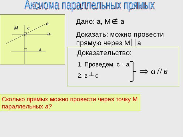 М а в с в Сколько прямых можно провести через точку М параллельных а?