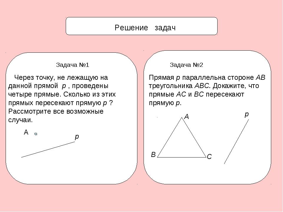 Решение задач Задача №1 Через точку, не лежащую на данной прямой p , проведе...
