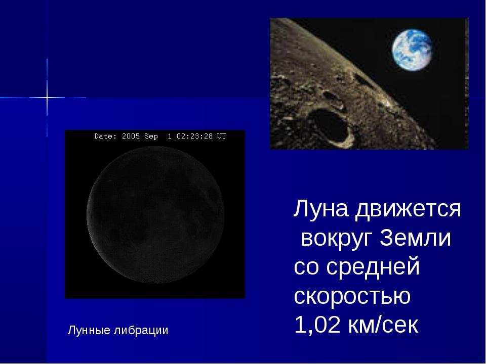 Лунные либрации Луна движется вокруг Земли со средней скоростью 1,02 км/сек