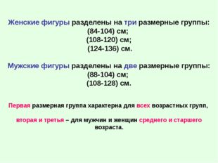 Женские фигуры разделены на три размерные группы: (84-104) см; (108-120) см;