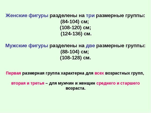Женские фигуры разделены на три размерные группы: (84-104) см; (108-120) см;...