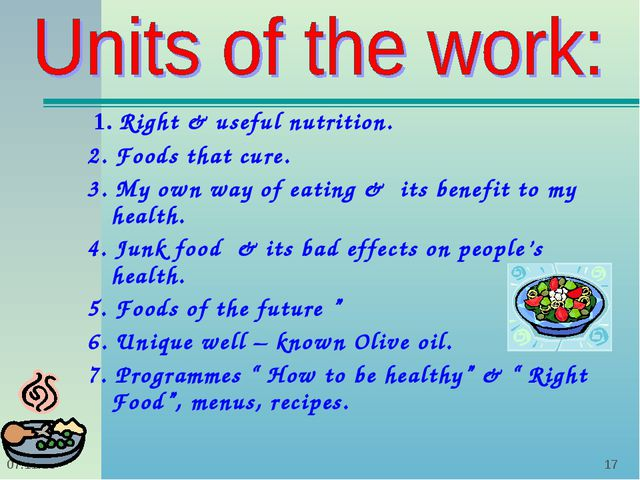 * *  1. Right & useful nutrition. 2. Foods that cure. 3. My own way of eating...