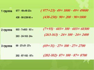 1 группа 977 ∙ 49+49∙23= 438 ∙ 90-238∙90 = 2 группа 603 ∙ 7+603∙ 93= 263∙ 24